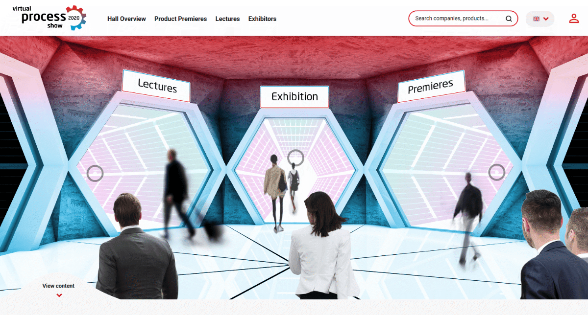 The lobby of the virtual process show