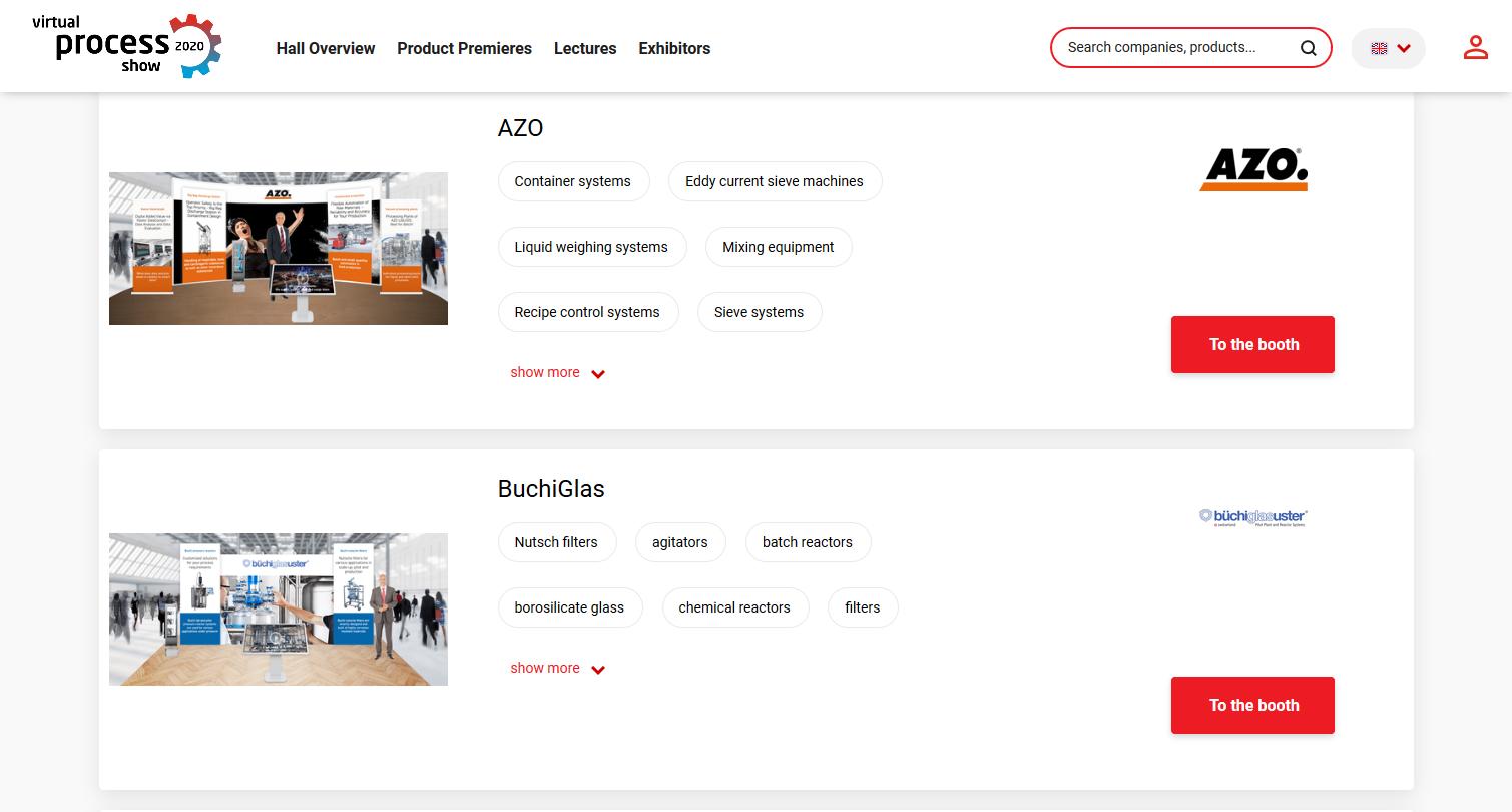 Exhibitor list - virtual process show