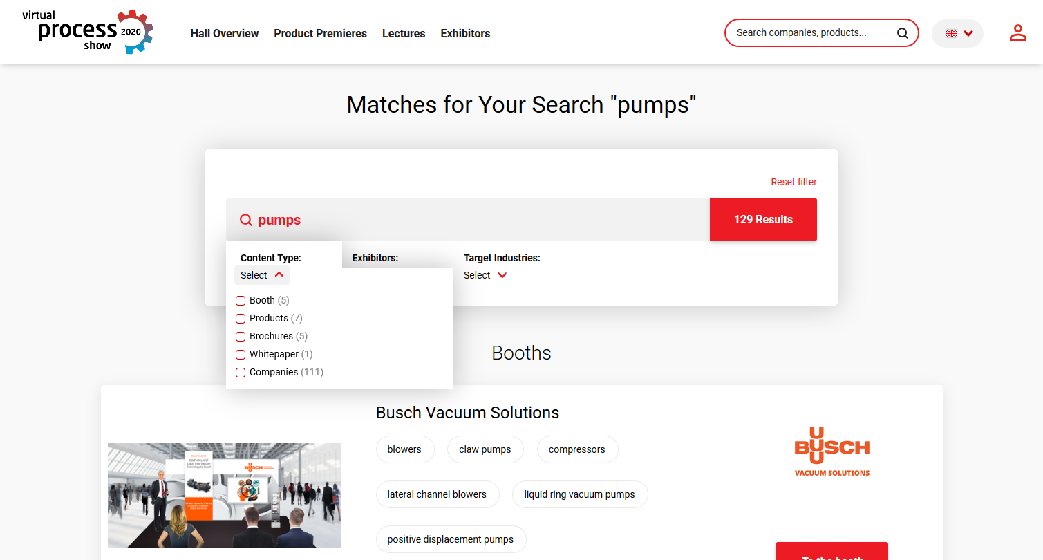 Search options at the virtual process show